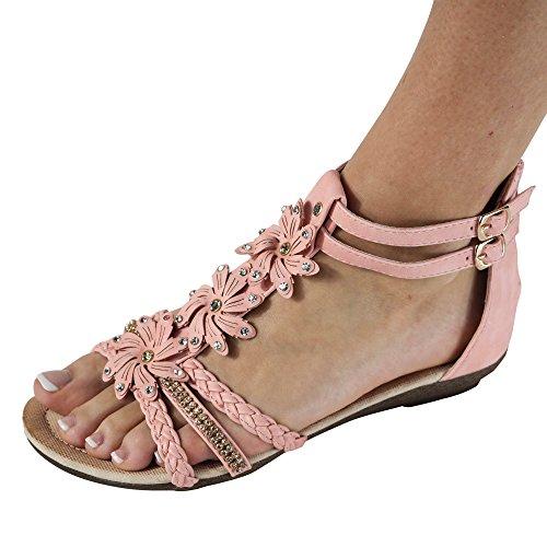 Damen Sandalen Sandaletten ST98 Keilabsatz Blumen Glitzer Zehentrenner Pink/Rosa