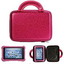 E-den ® Amazon Fire Kids Edición 7'(17,8cm, nuevo) Android Tablet Case–Cool coche de carreras niños bolsa, únicamente la carcasa rosa Case Only 7 pulgadas