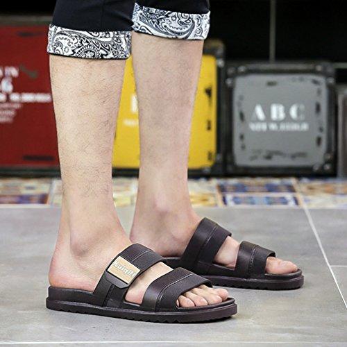 Hishoes Damen Herren Bad Dusche Pantoletten Hausschuhe Sommer Strand Aqua Slippers Flach Sandalen Braun