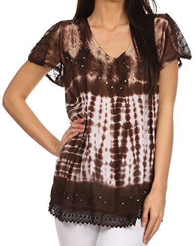 e gestickte binde Farbstoffe paillette Akzente Bluse / Top-Braun-OSP (Fancy Indian Dress)
