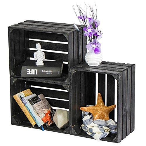 LAUBLUST 3er Set Große Vintage Holzkisten - 40x30x25cm, Schwarz Lackiert, Unbenutzt | Möbel-Kiste | Wein-Kiste | Obst-Kiste | Apfel-Kiste | Deko-Kiste aus Holz