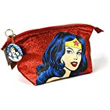 Official Wonder Woman Red Glitter Wash Toiletries Bag with Mirror