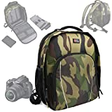 DURAGADGET Sac à dos en Nylon motif camouflage résistant à l'eau pour appareils photos Nikon D5000, D5100, D3100, D600, D800, D3200, Coolpix L330, D5300, D3300 + protège pluie BONUS