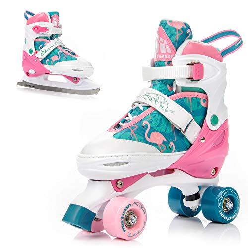 meteor® 2in1 Rollschuhe und Schlittschuh - Kinder Rollerskates Set - EIN Kauf und Spaß für das ganze Jahr - im Sommer als Rollschuh - im Winter als Damen Schlittschuh -S(31-34)-M(35-38)-L(39-42) -