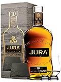 Isle of Jura 10 Jahre Single Malt Whisky 0,7 Liter + 2 Glencairn Gläser + 2 Schieferuntersetzer quadratisch ca. 9,5 cm