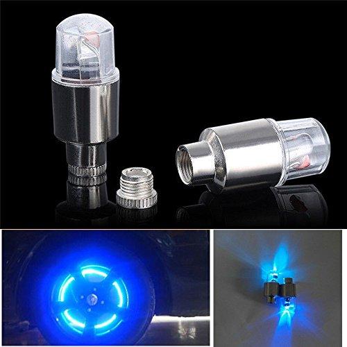88AMZ 2PC wasserdichte Reifen Ventilkappen Neonlicht Auto Zubehör Fahrradlicht Auto,wasserdichte+Ultra Bright LED,LED Ventil Kappen,Reifen Beleuchtung,Für Sie Fahrrad,Auto,Motorrad oder LKW (Blau)