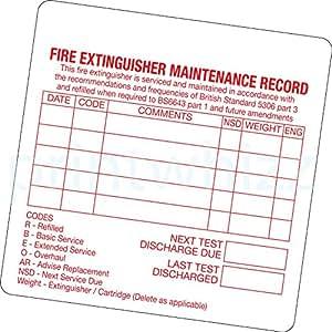 50 x Fire Extinguisher Maintenance Record Sticker Printed Vinyl Label Factory Shop