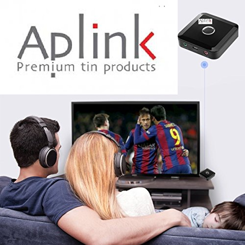 AplinK Bluetooth Transmitter and Receiver Transceiver 2 in 1 Wireless Portable Audio Adapter Car Kit Home Stereo System with 3.5mm APTX Low Latency