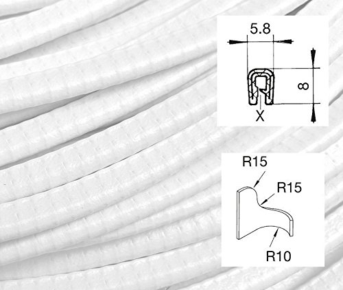 KS0-1W Kantenschutzprofil von SMI-Kantenschutzprofi - PVC Gummi Klemmprofil Kantenschutz - Weiß - einfache Montage, selbstklemmend ohne Kleber Klemmbereich 0-1 mm (1 m)