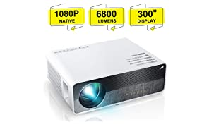 "ELEPHAS Projector Q9 Native 1080P HD Video Projector Support 2K, 6800 Lumens up to 300"" Image Display Ideal for PPT Business Presentations Home Theater Entertainment Parties Games"