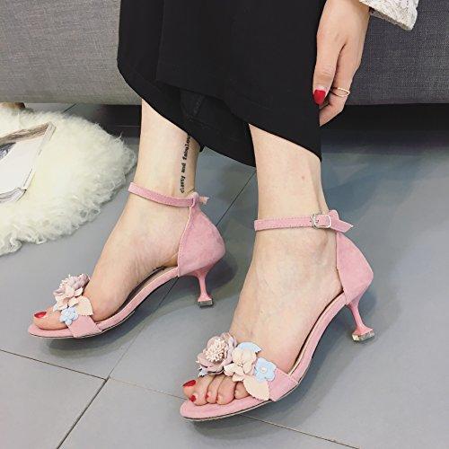 ZPPZZP Ms sandali a tacco alto stile Coreano punta aperta scanalato a tacco alto di fiori 35EU