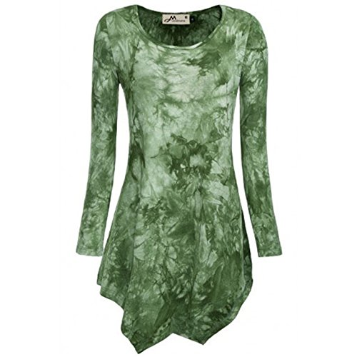 Onlyoustyle Donna Camicie Orlare Irregolare Maglie a Manica Lunga Girocollo T-shirt Bluse Stampare Tunica Top con Sweatshirt Verde