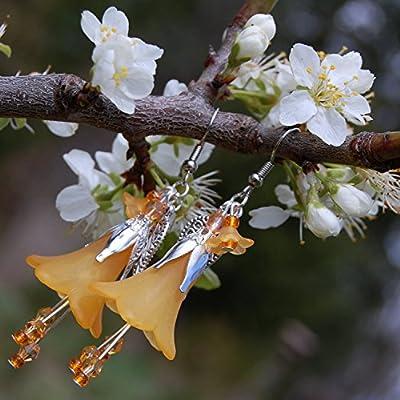 Boucles d'oreilles fée avec petits cristaux Swarovski/bijoux Halloween orange/elfe/sorcière/citrouille/bijoux fleur/kawaii/mori girl/forêt