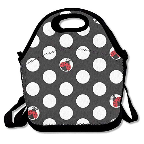5cc2c32bd7d2 Fgrygf Ladybug Dot Ziplock Lunch Tote Bag Portable Handbag Lunch Box  Waterproof Insulated Food Container for Boys&Girls School Picnic Office  Travel ...