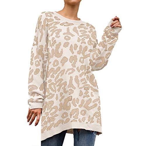 ReooLy Art und Weise Frauen Knit-Leopard-Druck-Lange Hülse O-Ansatz T-Shirt Pullover Top(Weiß/Large)