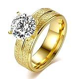 Shuda Eleganter Damen-Schmuck Kristall Ringe für Jahrestag Ehering Verlobungsring Brautschmuck Set (Gold)