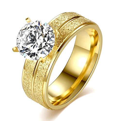 Shuda élégant Bijoux Femme Cristal Anneaux pour Anniversaires de Mariage Bande de Bague de fiançailles de Mariage (Or) 1.8cm #8