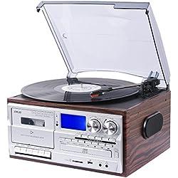 JORLAI Tourne-Disque avec Bluetooth Stéréo Intégrés Affichage avec Un Grand LCD Enregistreur &Support USB / SD Encodage MP3 / Cassette & Lecteur CD, Radio AM / FM, AUX in, Sortie RCA (JR18)