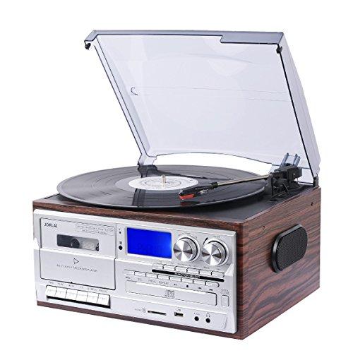 JORLAI Tocadiscos de Discos de Vinilo Bluetooth con Altavoces Estéreo Incorporados y Pantalla LCD, Reproductor de USB / SD de MP3 / Cassette y Reproductor de CD, Radio AM / FM, AUX IN, Salida RCA y Toma de Auriculares