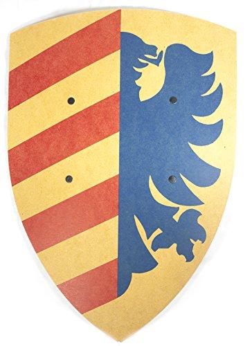 König In Kostüm Gelb Der (VAH - Stabiles, gebogenes Ritter Schild - Motiv: Lancelot - Material: Pappelholz - Abmessungen 36/50cm - Farbe: blau-gelb [Unbedenkliche Farben | Genietete Halteriemen aus Kunstleder | Made in)