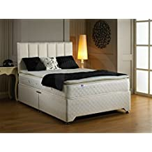 Luxury best sleep pillow top 28cm deep mattress and quilted divan bad with 2 drawers same headboard (Double 138x190cm)