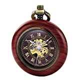 Treweto Reloj de Bolsillo mecánico automático de Madera Vintage para Hombres y Mujeres, Esfera de Esqueleto Steampunk con Cadena + Caja de Regalo