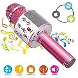 Phiraggit Microphone Karaoke sans Fil Bluetooth Karaoké,Micro sans Fil Mini Karaoké Portable avec Haut-Parleur pour Les Adultes d'enfants Partie Ktv à La Maison pour Android/Iphone/Ipad/Pc