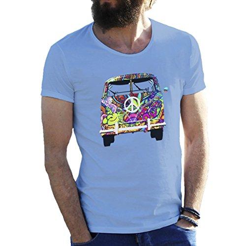 Woodstock VW T1 Weed 1969 Hippie Herren T-Shirt Hellblau