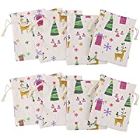 10pcs Linen Jute Drawstring Gift Bags Sacks Party Favors Xmas Pattern 8 x 10cm