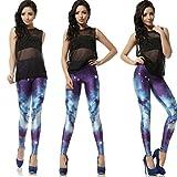 THENICE Sexy Elastic Gedruckt dehnbar Strumpfhosen Damen Leggings Pants (M, Galaxy Stern) -