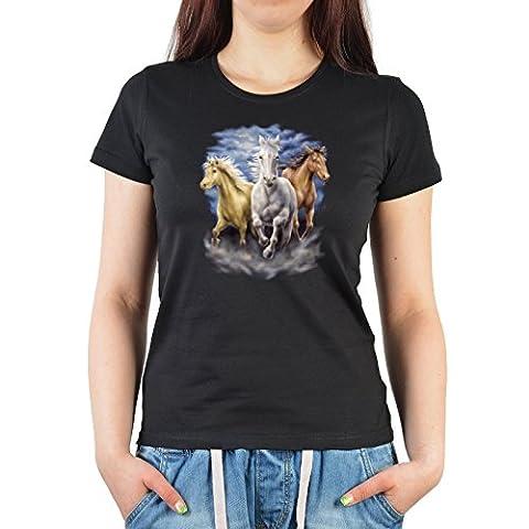 Tierliebhaber Damen T-Shirt Girlie Funshirt Perfektes Geschenk Motiv 3 Pferde Farbe Schwarz