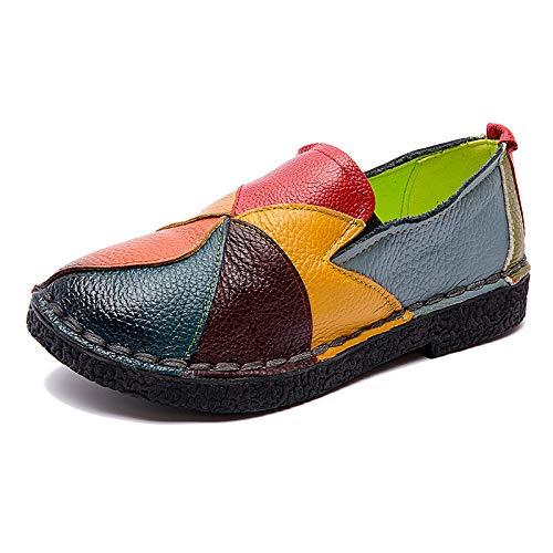 Fuxitoggo Leder Damen Soft Driving Schuhe Vintage Slip auf Casual Bequeme Flache Loafers (Farbe : Gelb, Größe : EU 38) Vintage Slip