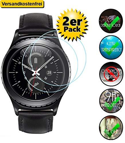 [2er Pack] 9H-Schutzglas für Samsung Gear S3 Classic / Gear S3 Frontier für das 1,3 Zoll Display Echt-Hartglas 9H, Displayschutz Panzerfolie Glasfolie Schutzfolie Glas Folie Display Schutz