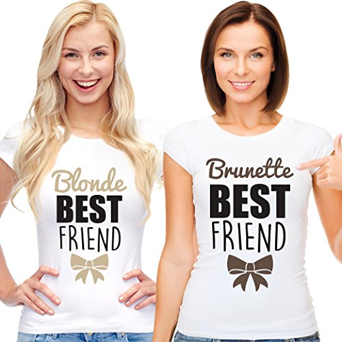 *Best Friends Passende Kurzarm Shirt Für 2 Damen mit Lustige Aufdruck Blonde and Brunette are Best Friends von VivaMake®*
