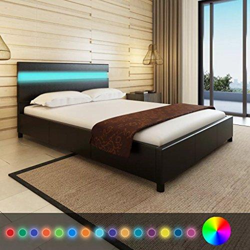 Xingshuoonline - letto a led in similpelle, con telaio per letto doppio, 140 x 200 cm, colore: nero