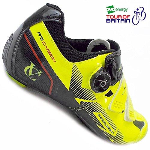Sohle VCX Paar Radsportschuhe mit VeloChampion Black Carbonfaser Fluoro Yellow nqPA7x4wxX