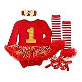 BabyPreg Baby Mädchen Mein erstes Weihnachten Sankt Kostüm-Partei-Kleid 4PCS (S/ 3-6 Monate, Rot 1 lang)
