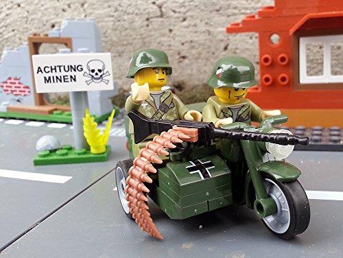 Preisvergleich Produktbild Modbrix 2149 -  Wehrmachtsgespann BMW R75 Motorrad mit Beiwagen inkl. Wehrmacht Elite Soldaten aus original Lego® Teilen