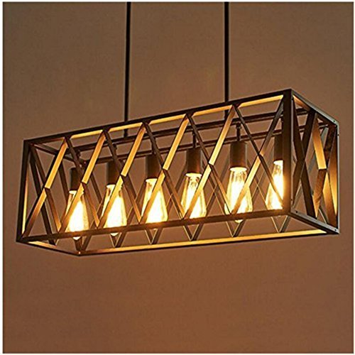 FGHOME-Efine-Vintage-Industrial-Lighting-6-Lights-Edison-Retro-Rustic-Metal-Black-Rectangle-Chandelier-for-Kitchen-Foyer-Island-Shade-Max-240w-NO-Glass-Black-6