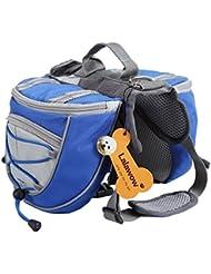 Lalawow Mochila de perros transpirable ajustable Sillín Mochilla de perro para Medianas y Grandes (L, Azul)