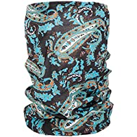 Foulard fazzoletto da collo sciarpa funzionale multiuso scaldacollo tubolare leggero e morbido estate primavera autunno inverno loop anello ragazze colorati stola accessorio moderno lifestyle, Multituch MF-140-173:MF-173 Paisley turchese