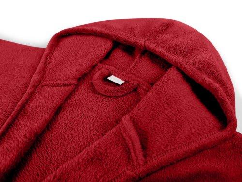 extra weicher Kapuzen-Bademantel aus Kuschelfleece - erhältlich in 7 modernen Farben und 5 Größen - unisex & wadenlang, XL, bordeaux Bordeaux
