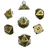 Hestya 7 Pieces Multi-sided Dice Set Metal Polyhedral Dices Game Dice with Random Numbers and Velvet Storage Bags (Bronze)