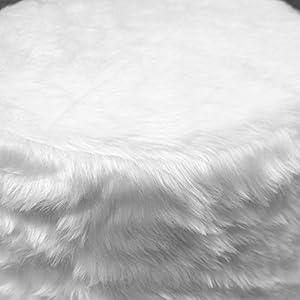 ToCi Haushalt Fellhocker C400 Sitzhocker 40 cm weiß