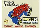 PLAQUE METAL 40x30cm NOUVEAU TRACTEUR MASSEY HARRIS MODELE PONY 820...