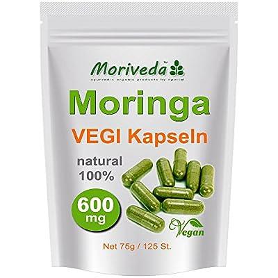 Moringa 125 Oleifera Vegi Capsules High Dosage 600mg - 100% Vegan Raw Food (1X125)
