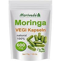 Moringa 125 Oleifera Vegi Capsule alto dosaggio 600mg - 100% cibi crudi Vegan (1x125)