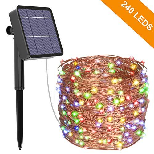 Solar Lichterkette Aussen, Kolpop 24M 240 LED Außen Wasserdicht Kupferdraht Lichterketten für Weihnachten Partys Garten Hochzeiten Dekoration (Mehrfarbig)