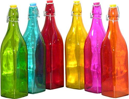 lasflaschen Dekoration, farbige Deko Glas Flasche bunt Dekoflasche Flaschen Set ()