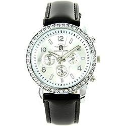 Damen-Armbanduhr Leder schwarz Diamanten CZ Michael John 1547